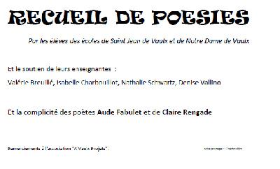 Recueil de poèmes des enfants de Notre Dame de Vaulx